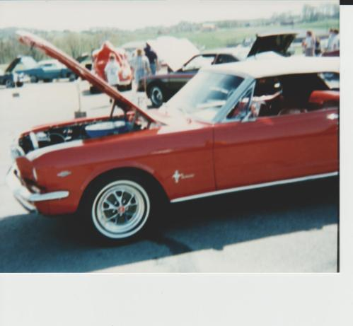 Old car show, red Mustang